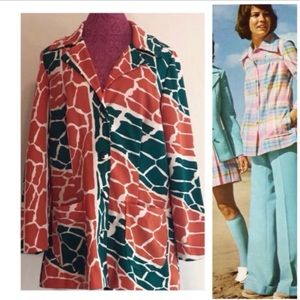 1970s Giraffe Print Polyester Leisure Suit Blue